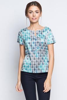 Шелковая блузка с короткими рукавами и украшением на вороте Marimay