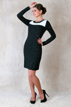 Платье с люрексом и белой сеткой Милана