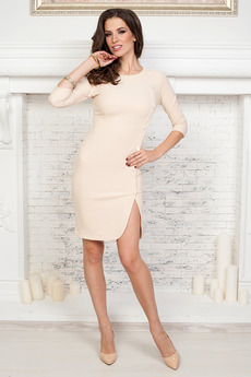 Бежевое платье футляр Angela Ricci