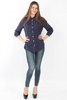 Темно-синяя блузка в горошек Bast