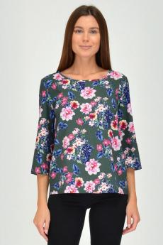 Темно-зеленая блузка с цветами Viserdi